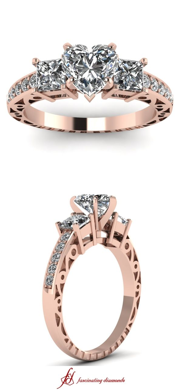 Whistle Charm Ring || Heart Shaped Diamond Vintage Ring With White Diamond In 14K Rose Gold