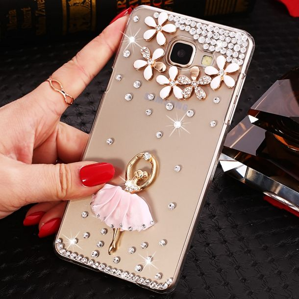 Cute Samsung j5 j7 Prime Bling Cases girl ballet Cases For SAMSUNG A5 A7 2017 2016 pHONE Cases Cover