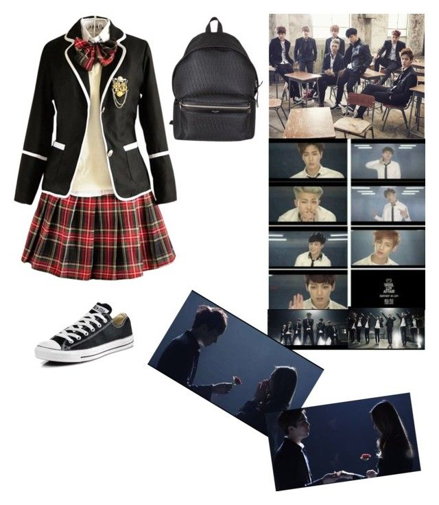 U0026quot;BTS- Boy in Luv Girls Uniformu0026quot; by chyannyang101 liked on Polyvore featuring Converse Yves ...
