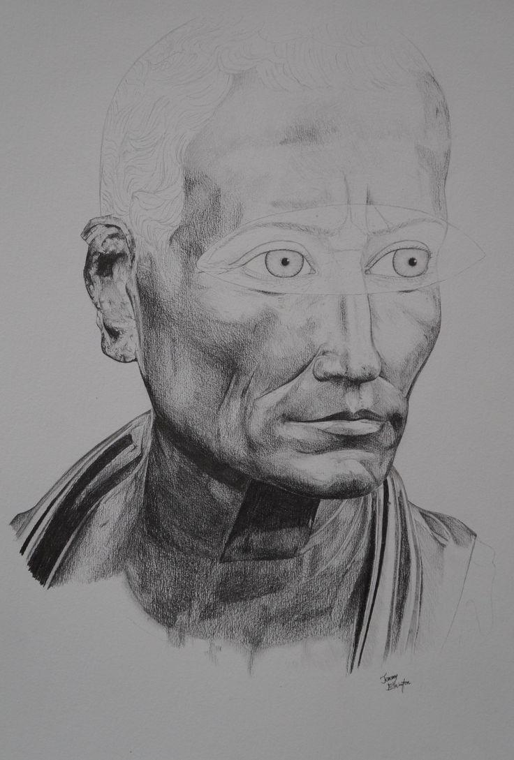 """""""Gaius Julius Caesar"""", grey lead on paper, 29.7 x 42cm, 2014."""