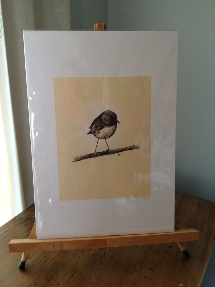 """A sweet print of our Robin, entitled """"One"""". Size is A3. Available on www.wildhoneyart.co.nz. Shipping to anywhere in the world. Also available in card format."""