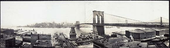 On June   12, 1806, John A. Roebling, civil engineer and designer of bridges,  was born in Mühlhausen, Prussia. The Brooklyn Bridge, Roebling's last and greatest achievement, spans New York's East   River to connect Manhattan  with Brooklyn. When  completed in 1883, the bridge, with its massive stone towers and a main span of  1,595.5 feet  between them, was by far the longest suspension bridge in the world. wem