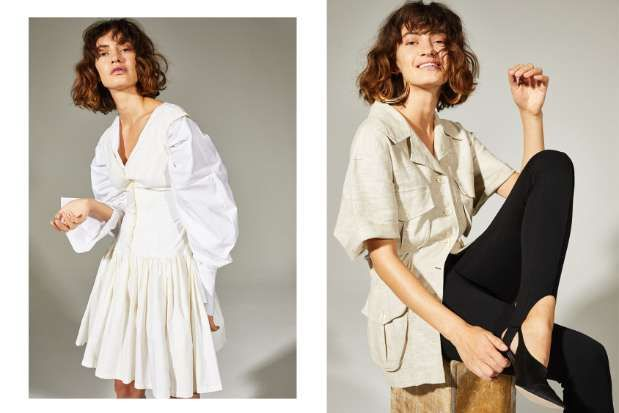 Left: Marina in a cute vintage sun dress from the 1980s, styled with this season's voluminous take on the classic white shirt.  Right: Marina wearing a  linen safari jacket from the 1990s archive.