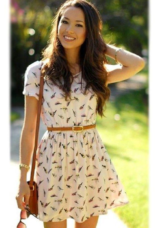 Beige Birds Print Short Sleeve Dress