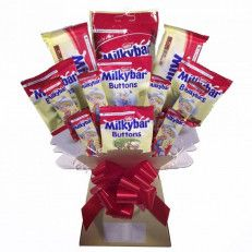Milky Bar Chocolate Bouquet Extra care is put into the packaging of our bouquets to ensure they arrive in pristine condition. Your bouquet will be elegantly arranged by hand and wrapped in cellophane and put inside a sturdy box for delivery.