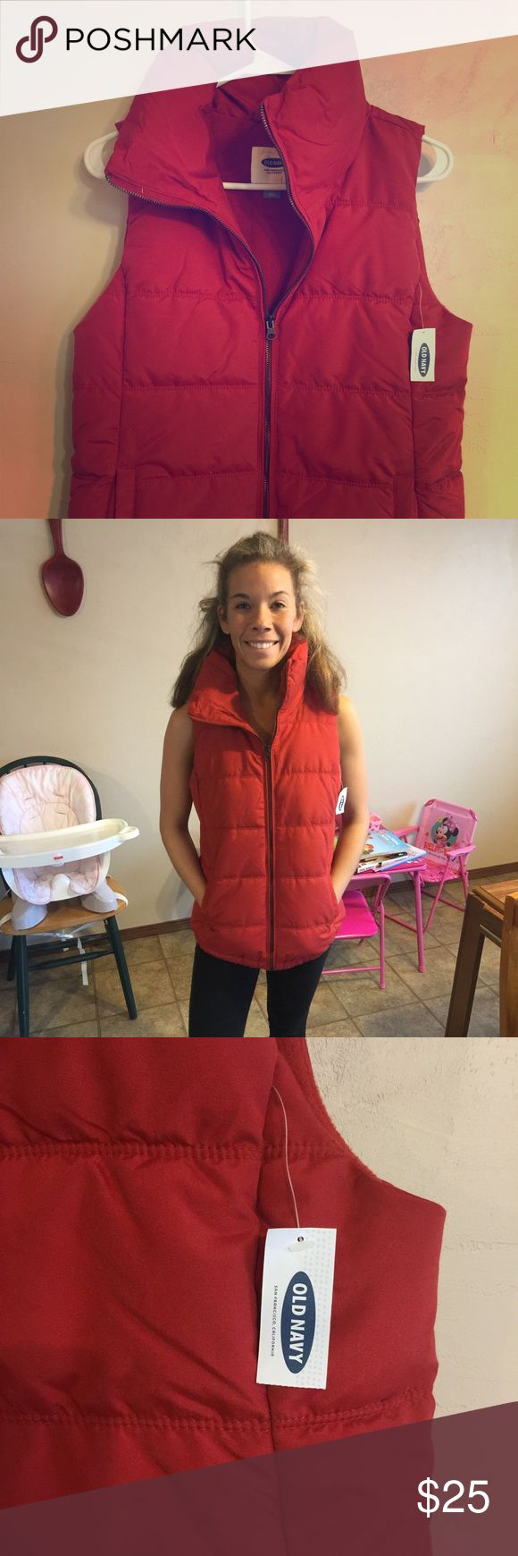 NWT Red Old Navy Vest!! Brand new with tags on it, size Small red Old Navy Vest! Super comfy and fleece on the inside! Old Navy Jackets & Coats Vests