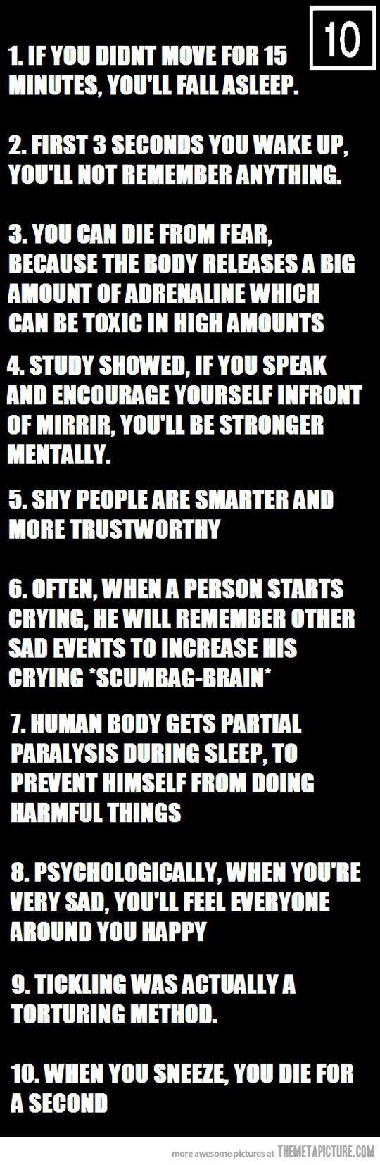 Ten psychological facts…