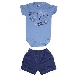 Body curto azul bebe e shorts malha jeans