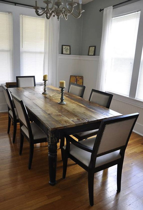 Handcrafted Farm Table Made From Reclaimed Wood With Turned Legs Harvest  Table Furniture 7 Feet