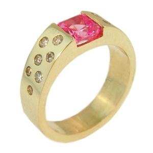9ct Yellow Gold, Pink Tourmaline & Diamond Ring