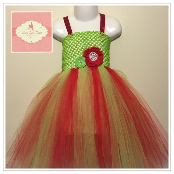 Apple green  flower Christmas Tutu dress