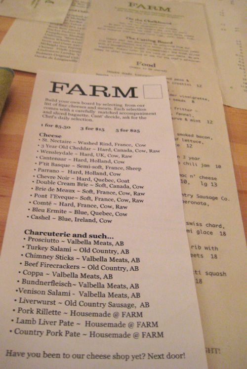 Date night in the city. I've heard Farm is an excellent restaurant. Local as local can be.