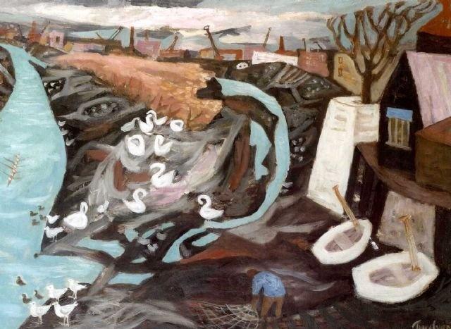 Julian Trevelyan. Low Tide Durham Wharf