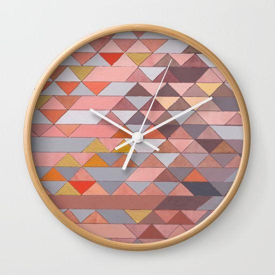 Triangle Pattern Gold, Pink and Brown Wall Clock www.society6.com/julikalackner
