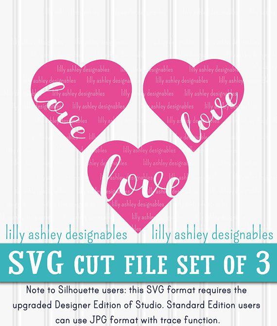 Svg Files Set Of 3 Cut Files Heart Svg Valentine Svg Valentines Day