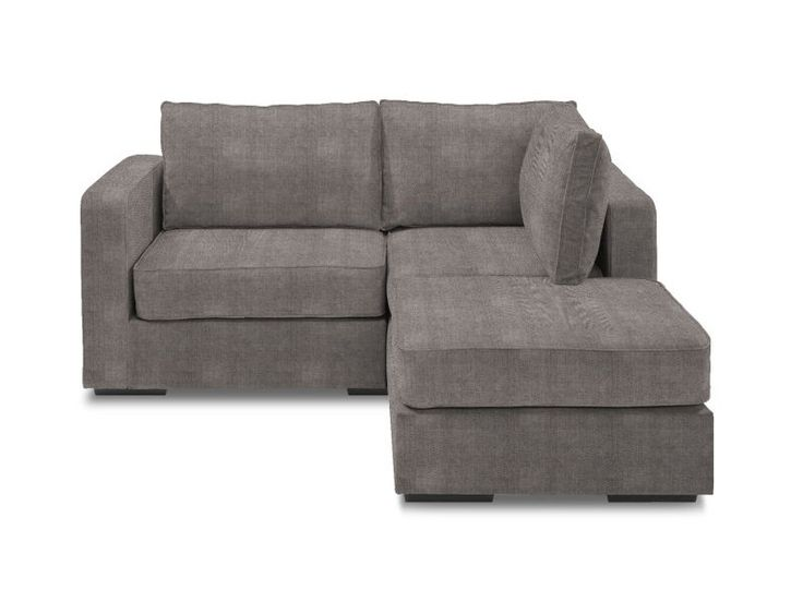 Small Chaise Sectional with Grey Herringbone Chenille Covers
