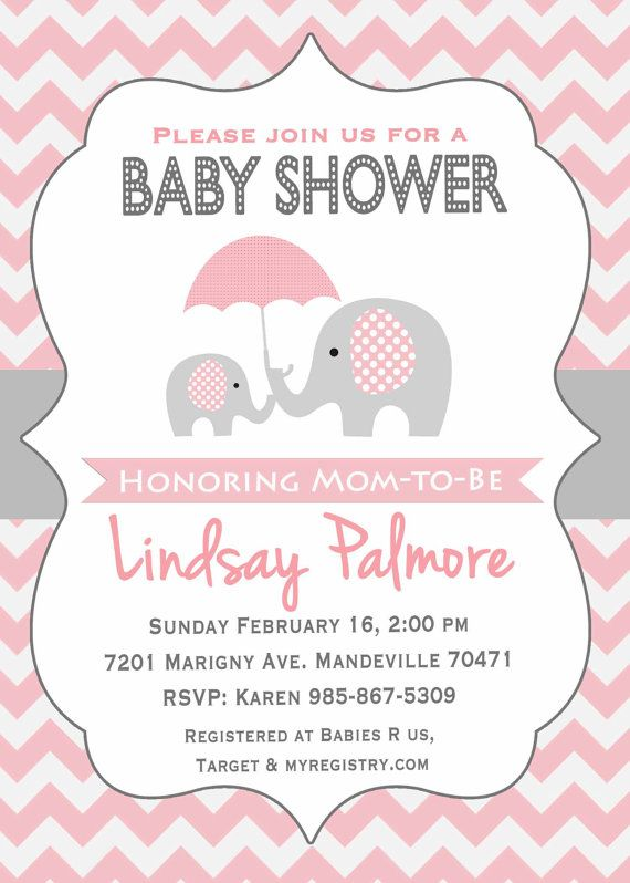 Elephant Baby Shower Invitation  Pink Grey Elephant Baby Shower