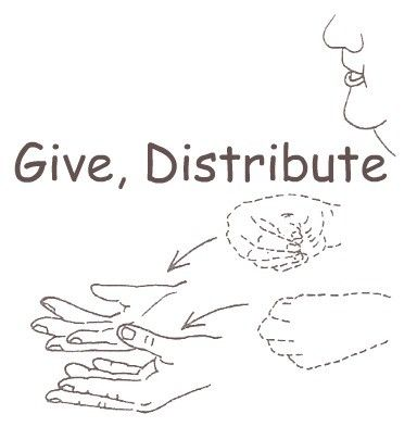 American Sign Language for give distribute. Ways to teach children to share.