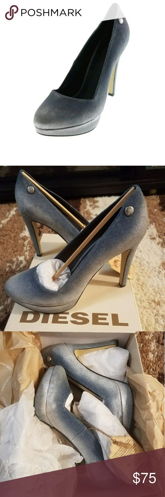 """🆕DIESEL DENIM FAME KRISTALY PLATFORM These knockout heels are absolutely gorgeous!! The color is listed as Indigo/Silver or """"Krystaly Blue"""" and that is the perfect name for these shimmering beauties. They are a distressed denim kicked up a notch with a silver shimmer.  The heel is slim with height listed at 4 3/4"""" with platform height of 3/4"""". DIESEL  Shoes Platforms"""