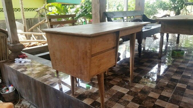 A set of table/ desk & chair. Suitable for your office or home appliances. Made of teak.