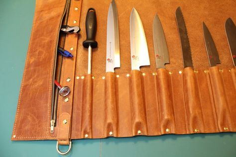 Chef's Leather Knife Roll handmade cheap by SmokeyPointLeather on Etsy local