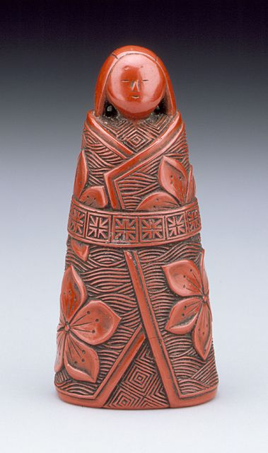 Ho (Japan)  Standing Doll, 19th century  Netsuke, Carved red lacquer, #netsuke