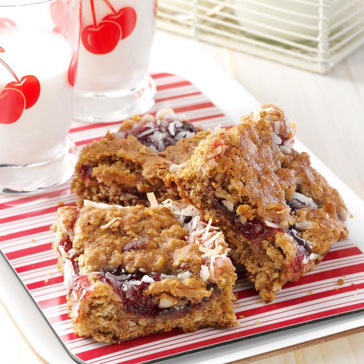 Cherry Oat Bars Recipe -The addition of dried cherries and cherry preserves make these homemade granola bars a hit with all who try them. Each bar provides both a sweet pick-me-up and lasting energy. —Kevin Johnson, Glendora, California