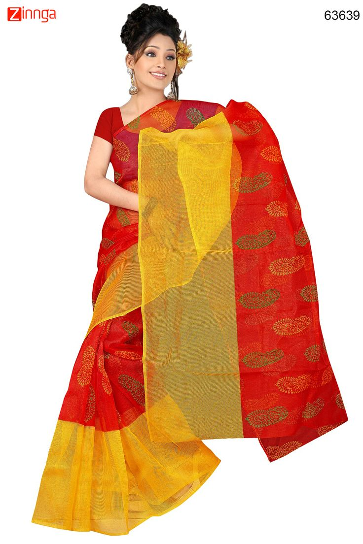 Red & Yellow Color Saree With Nice-looking Printed Pallu. Message/call/WhatsApp at +91-9246261661 or Visit www.zinnga.com