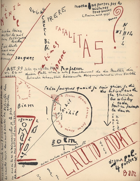 1921 book of Dada poems by Paul van Ostaijen, who was also responsible for the type compositions. Woodblock illustrations by Oskar Jespers.