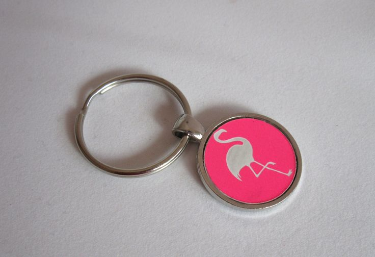 Hot Pink Flamingo Key Hot Pink Bag Charm by BunnaAndDooDesigns on Etsy