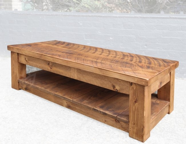 Denby Rustic Plank Solid Pine 48 x 24 Coffee Table With Shelf