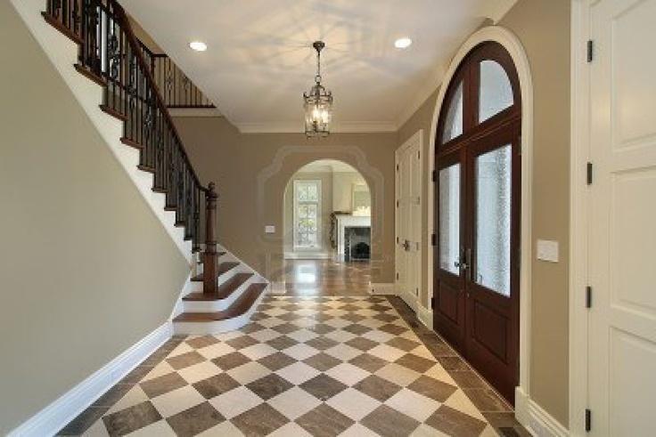Checkerboard floor.