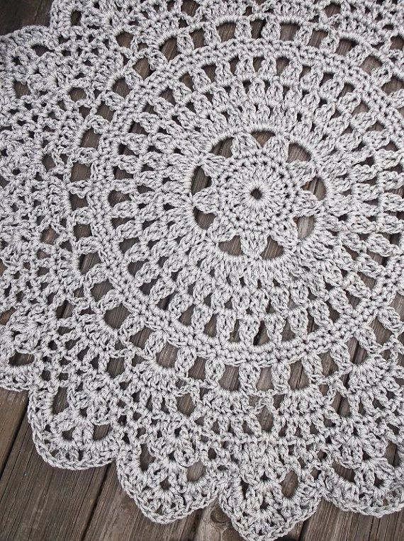 "Grey Patio Porch Cord Crochet Rug in 35"" Round Pineapple Pattern"
