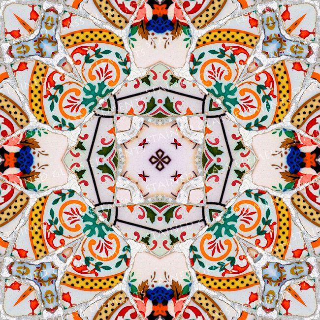 Ceramic transfer Gaudi, size 10 x 10cm (3.94 x 3.94 inch), firing temperature 1400-1562 ºF, ceramic decal tile, Gaudi ceramic decal, Gaudi door StainedGlassElements op Etsy