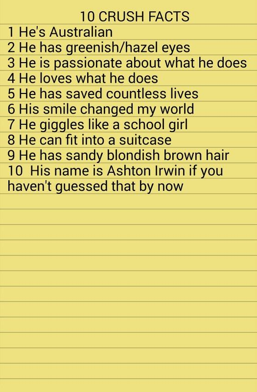 My ten crush facts...sorry it took so long