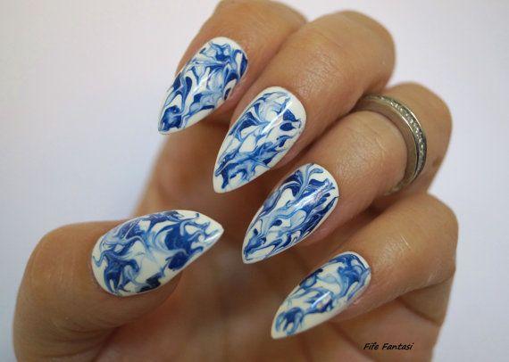 Marble nails Fake nails Blue stiletto nails Stiletto nail