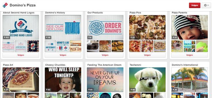 Domino's koos voor een all around pagina.De pagina bevat een actie voor het milieu, grappige foto's, schattige foto's, foto's in verband met technologie en kunstzinnige foto's (die verder gaan dan een mooie pizza)  https://nl.pinterest.com/dominos/