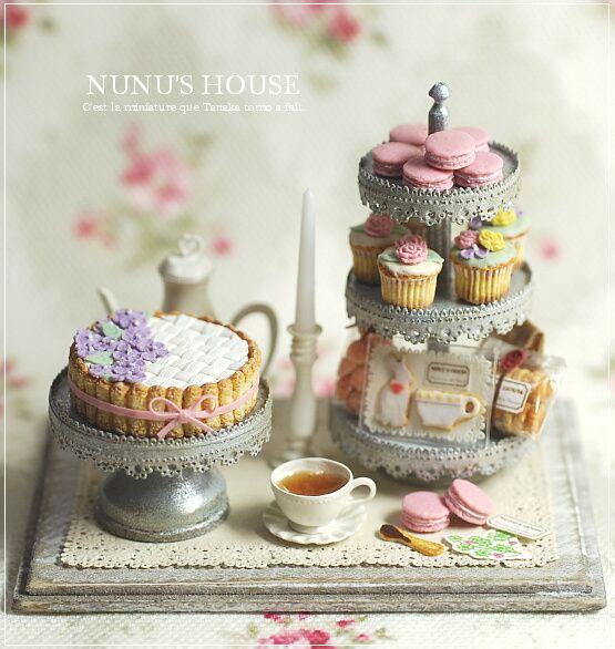 *春色アフタヌーンティーセット* - *Nunu's HouseのミニチュアBlog* 1/12サイズのミニチュアの食べ物、雑貨などの制作blogです。