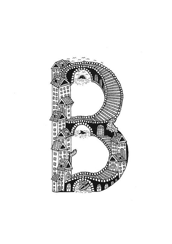 A4 B is for Bridges Typographical Illustrations by MenisArt