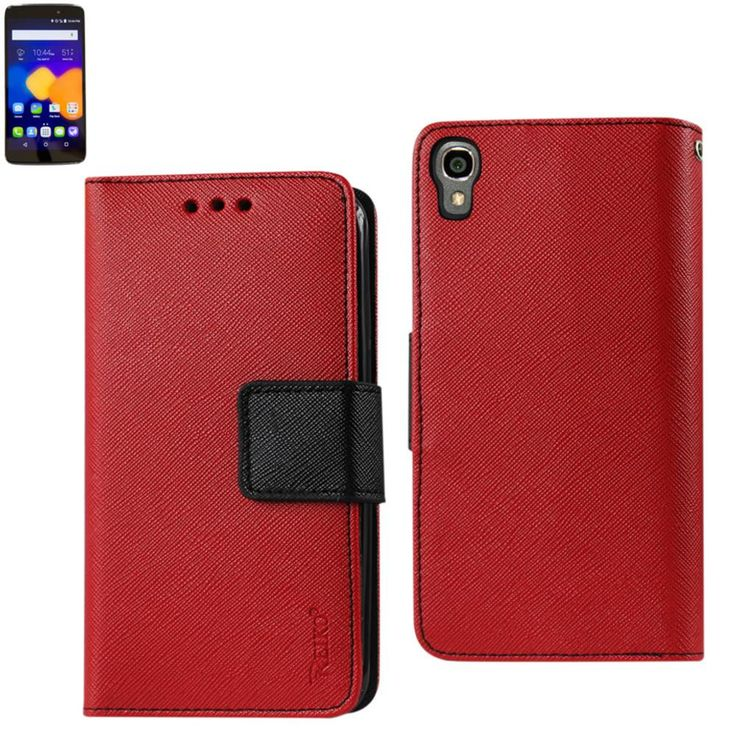 Reiko Wallet Case 3 In 1 For Alcatel Onetouch Idol 3 5.5Inches With Interior Leather-Like Material & Polymer Cover-Red