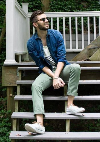 【春】紺ジャケット×チノパン×緑スニーカーの着こなし(メンズ) | Italy Web