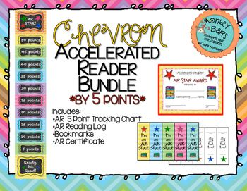 Have your students become AR Stars with this Accelerated Reader Bundle! This cute rainbow chevron accelerated reader clip chart will help motivate your students to meet their AR goals! *5 point chart*Included in the bundle:AR Clip Chart (by every 5 points)AR CertificateAR Bookmarks (2 sided with place for AR Level on back)AR Reading Log