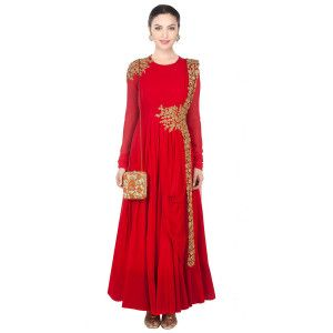 Lovely Red And Beige Silk Anarkali Suit.
