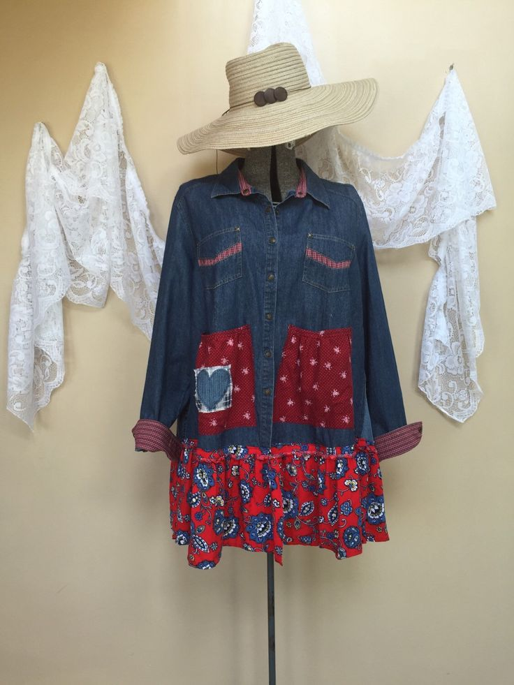 A personal favorite from my Etsy shop https://www.etsy.com/listing/236137500/medium-to-plus-size-upcycled-denim-shirt