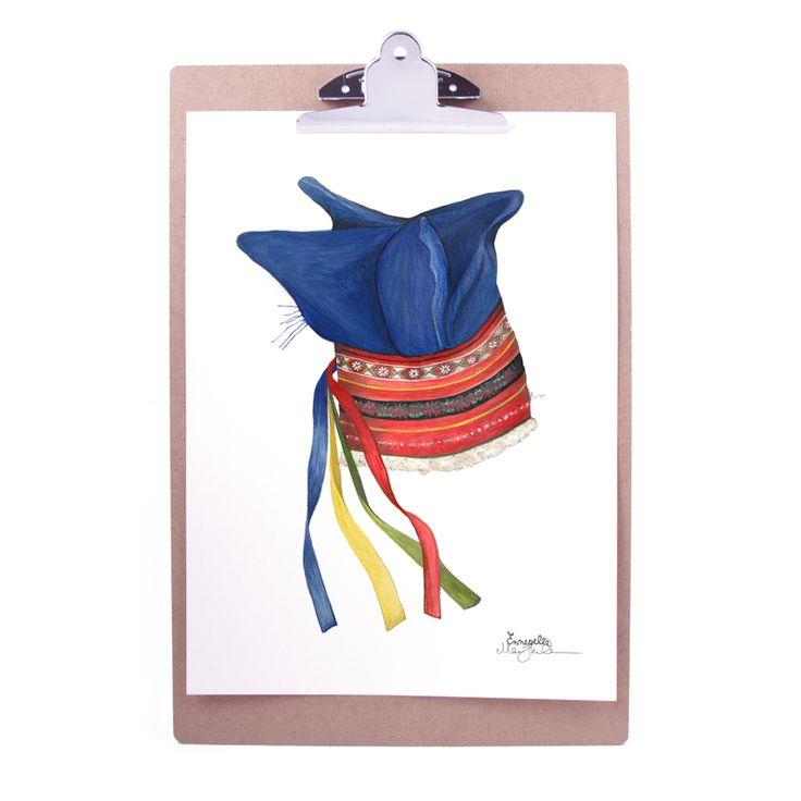 """Samelue"" (Sami hat / duodji ) Copyright: Emmeselle.no Illustration by Mona Stenseth Larsen"