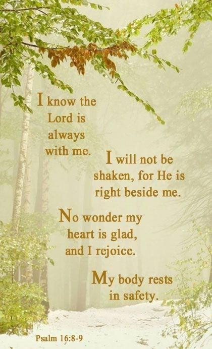 Psalm 16: 8-9 (NLT) - I know the Lord is always with me. I will not be shaken, for he is right beside me. No wonder my heart is glad, and I rejoice. My body rests in safety.