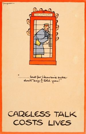 Careless Talk Costs Lives Telephone Booth Fougasse WWII, 1940 - original vintage poster by Fougasse (Cyril Kenneth Bird) listed on AntikBar.co.uk
