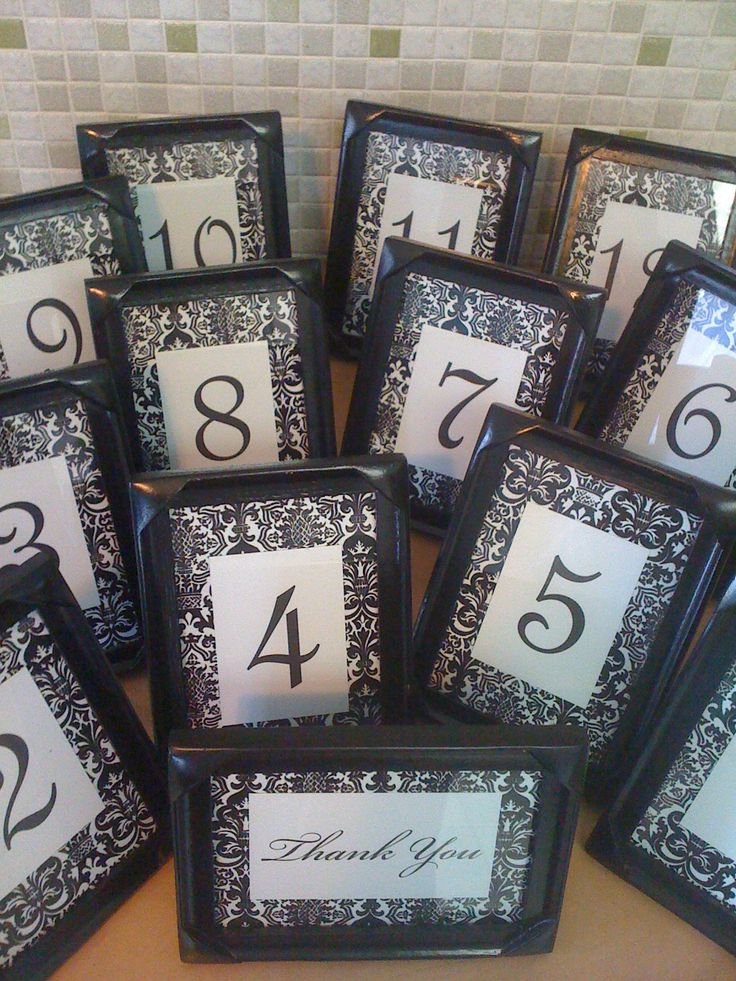 table numbers (white or black damask background with a teal or purple frame... give each table number a quote from a song and when that song plays they can expect to be served dinner)