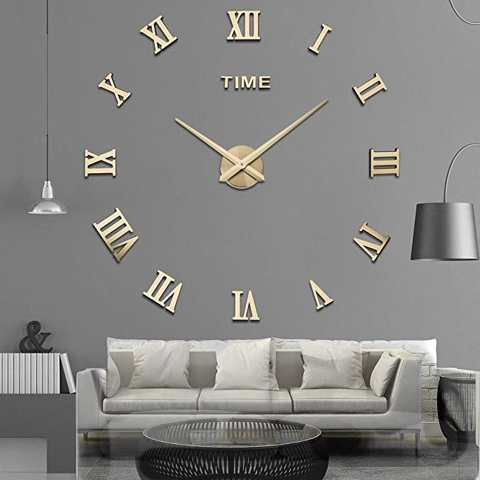 Amazon Com Aililife 3d Diy Wall Clock Decor Sticker Mirror Frameless Large Diy Wall Clock Kit For Home Liv Mirror Wall Clock Diy Clock Wall Wall Clock Sticker