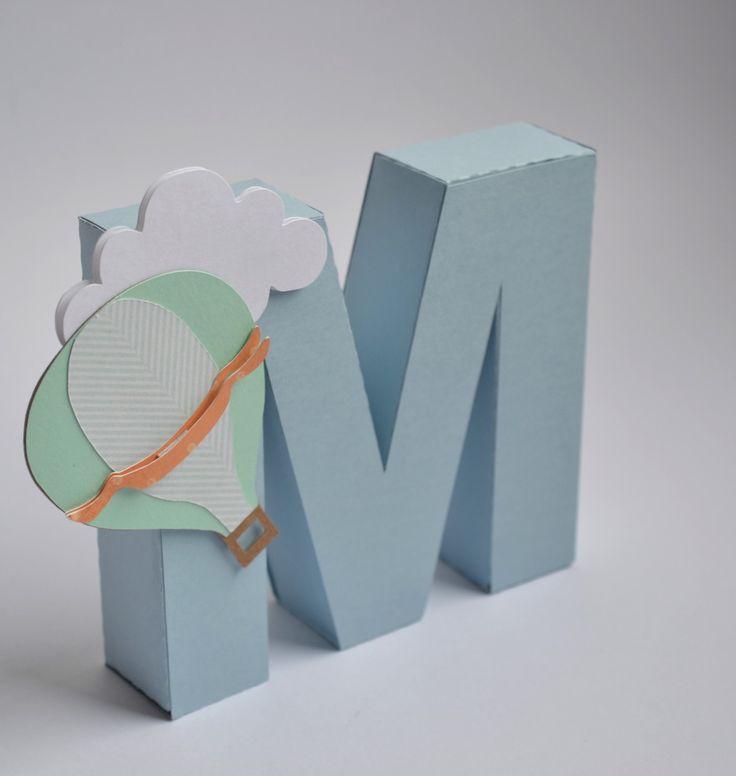 Letra 3D para enfeites para decoração de festas.    Feito 100% com material de scrapbook.    Personalizado de acordo com o tema.    Faço em outras cores e outras letras.    O preço é cobrado por unidade ou seja por letra.    Está incluso na letra 1 balão ou 1 nuvem.